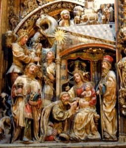 Los Reyes Magos, en el retablo de la Seo de Zaragoza