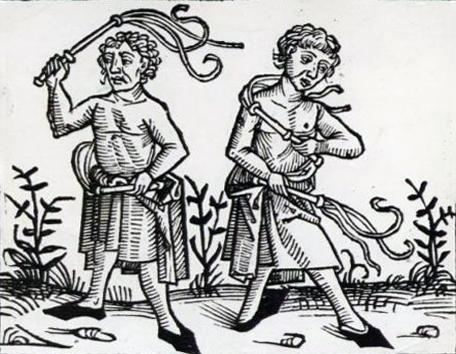 Disciplinantes en un grabado del siglo XV
